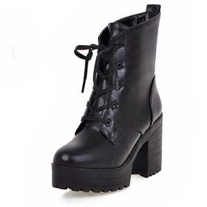 Eco leather warm lace up heeled boots